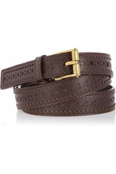 Gucci Perforated Leather Skinny Belt Brown