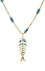 Mahnaz Collection Vintage Women's Skeletal Fish Pendant Necklace Color Colorless