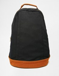 Asos Backpack In Black Canvas With Faux Suede Trims Black