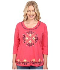 Roper Plus Size 0444 Light Slub Jersey Tunic Red Women's Blouse