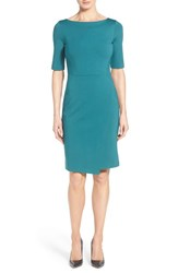 Women's Halogen Faux Wrap Sheath Dress Teal Pacific