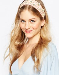 Asos Sequin Flower Headband Peach Pink