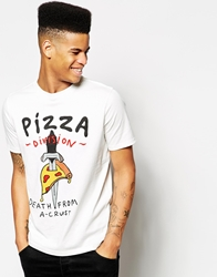 Lazy Oaf T Shirt With Pizza Death Print White