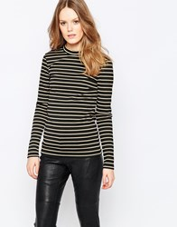 Vila Matilda Stripe Long Sleeve Top Blk And Gold Black