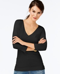 Inc International Concepts V Neck Three Quarter Sleeve Sweater Only At Macy's Deep Black