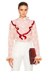 Stella Mccartney Swan Print Shirt In Pink Abstract Pink Abstract
