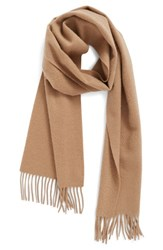 Nordstrom Women's Solid Woven Cashmere Scarf Tan Camel Heather