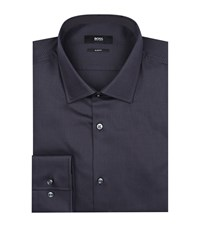 Boss Jenno Slim Fit Jacquard Shirt Male Navy