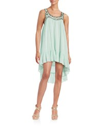 Design Lab Lord And Taylor Beaded Hi Lo Ruffle Dress Green