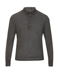 Massimo Alba Long Sleeved Cotton Polo Shirt Grey