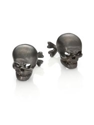 Robin Rotenier Sterling Silver Skull And Cross Bones Cuff Links