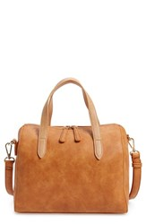 Sole Society 'Morey' Faux Leather Satchel Brown Cognac