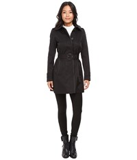 Lauren Ralph Lauren Faux Leather Piped Hooded Rain Black Women's Coat