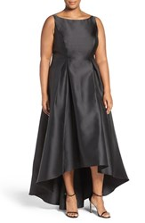 Adrianna Papell Plus Size Women's 'Arcadia' Sleeveless High Low Mikado Ballgown Black