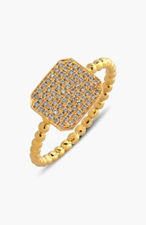 Women's Bony Levy 'Aurora' Diamond Pave Rectangle Ring Yellow Gold Limited Edition Nordstrom Exclusive