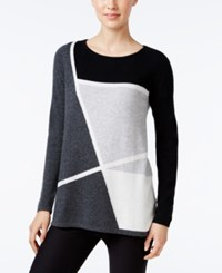 Charter Club Cashmere Colorblocked Sweater Only At Macy's Classic Black