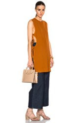 Rosetta Getty Fluid Percale Cutout Tunic In Brown Orange