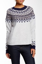 Joie Deedra Fairisle Wool Blend Pullover Sweater Gray