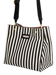 Marni Small Striped Canvas Tote Bag