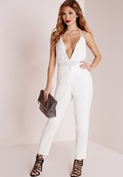 Missguided High Waisted Crop Cigarette Trousers White White