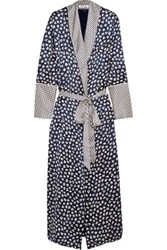 Olivia Von Halle Capability Faith Printed Silk Satin Robe Midnight Blue