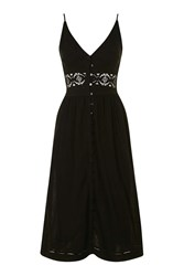 Topshop Crochet Detail Midi Sundress Black