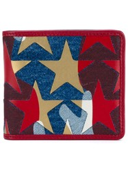 Valentino Garavani Camustars Denim Billfold Wallet Red