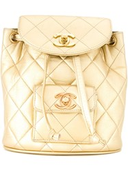 Chanel Vintage Mini Logo Backpack Metallic