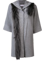 Fabiana Filippi Faux Fur Detail Cardi Coat Grey