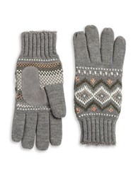Isotoner Lined Fair Isle Gloves Grey