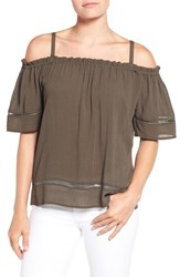 Gibson Women's Ladder Stitch Detail Off The Shoulder Top Olive