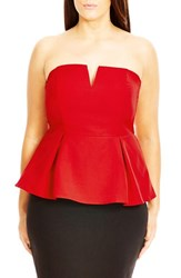 City Chic Plus Size Women's 'Deep V' Strapless Corset Top Red