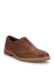 Ben Sherman Tooled Leather Full Brogues Brown