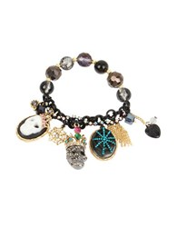 Betsey Johnson Skeletons After Dark Two Toned Skull Multi Charm Stretch Bracelet