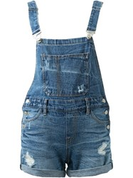 Guild Prime Distressed Short Overalls Blue