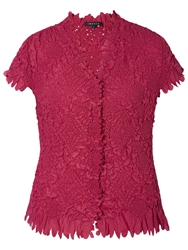 Chesca Laser Petal Crush Pleated Blouse Cerise