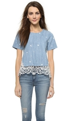 Sea Lace Combo Back Tee Indigo Cream