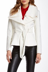 Blanc Noir Short Belted Wool Blend Faux Leather Contrast Coat White