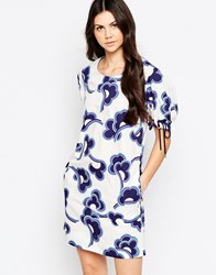 See By Chloe Cloud Print Shift Dress With Tie Up Sleeves White