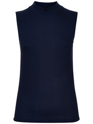 Jaeger Ribbed Funnel Neck Top Navy