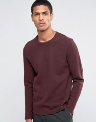 Selected Homme Ribbed Crew Neck Sweat Fudge Burgundy Red