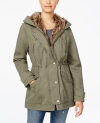 American Rag Faux Fur Lined Hooded Utility Jacket Only At Macy's Olive