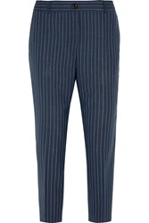 J.Crew Collection Ludlow Pinstriped Wool Straight Leg Pants Blue