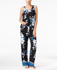 Alfani Contrast Trimmed Knit Tank Top And Pants Pajama Set Only At Macy's Bouquet Floral