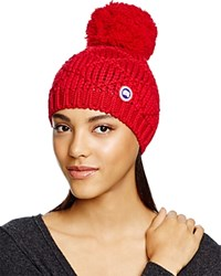 Canada Goose Merino Wool Beanie With Oversized Pom Pom Redwood