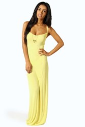 Boohoo Strappy Cross Over Back Maxi Dress Yellow