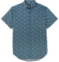 J.Crew Slim Fit Floral Print Cotton Shirt Blue