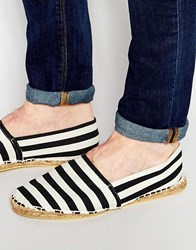 Asos Canvas Espadrilles With Wide Stripe Black
