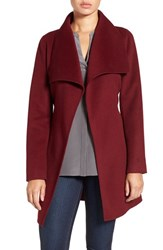 T Tahari Women's 'Ella' Belted Double Face Wool Blend Wrap Coat Burgundy