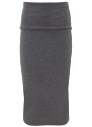 Mint Velvet Granite Fold Over Midi Skirt Grey